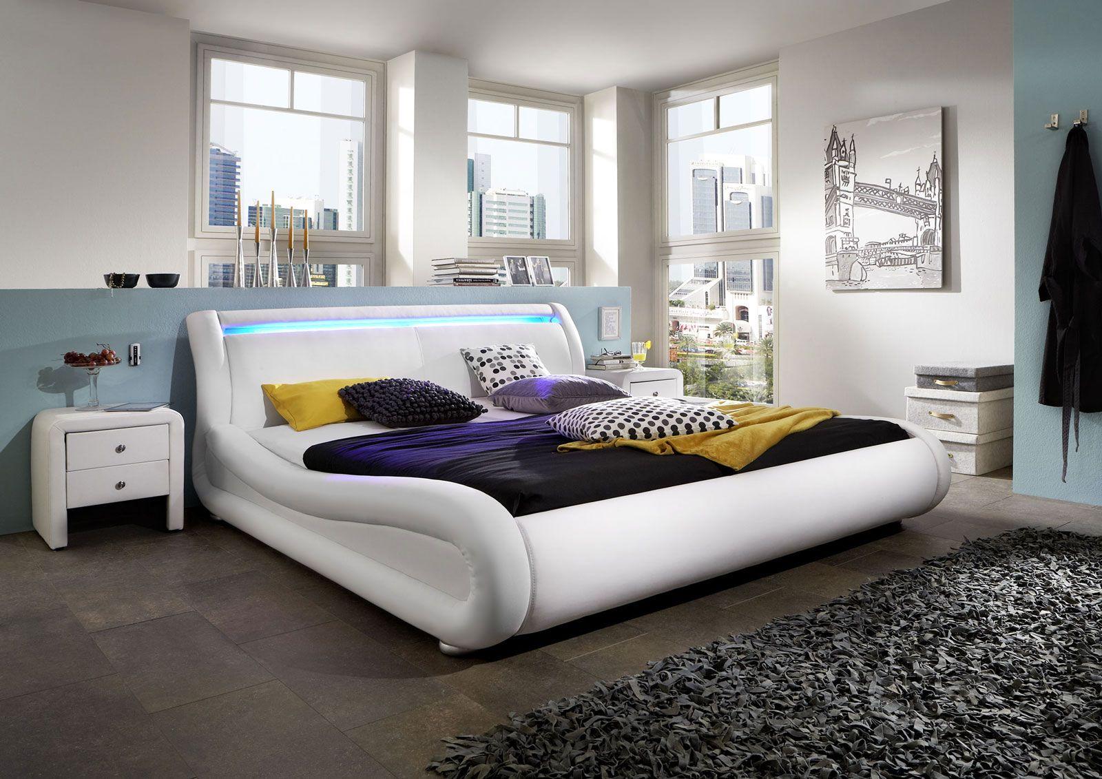 SAM® Polsterbett 120 x 200 cm Weiß CLIP LED Polsterbett