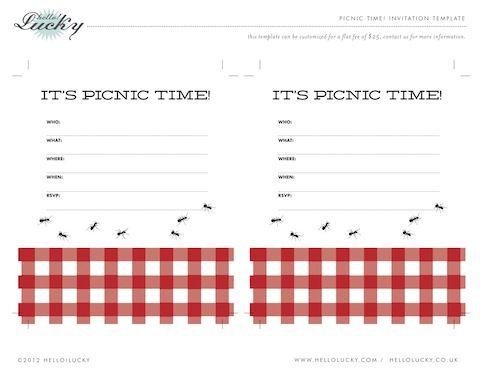 Free Printable Picnic Party Invite  Picnic Invitations