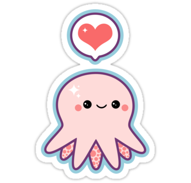 Super cute vinyl die cut stickers with pink baby octopus and love heart