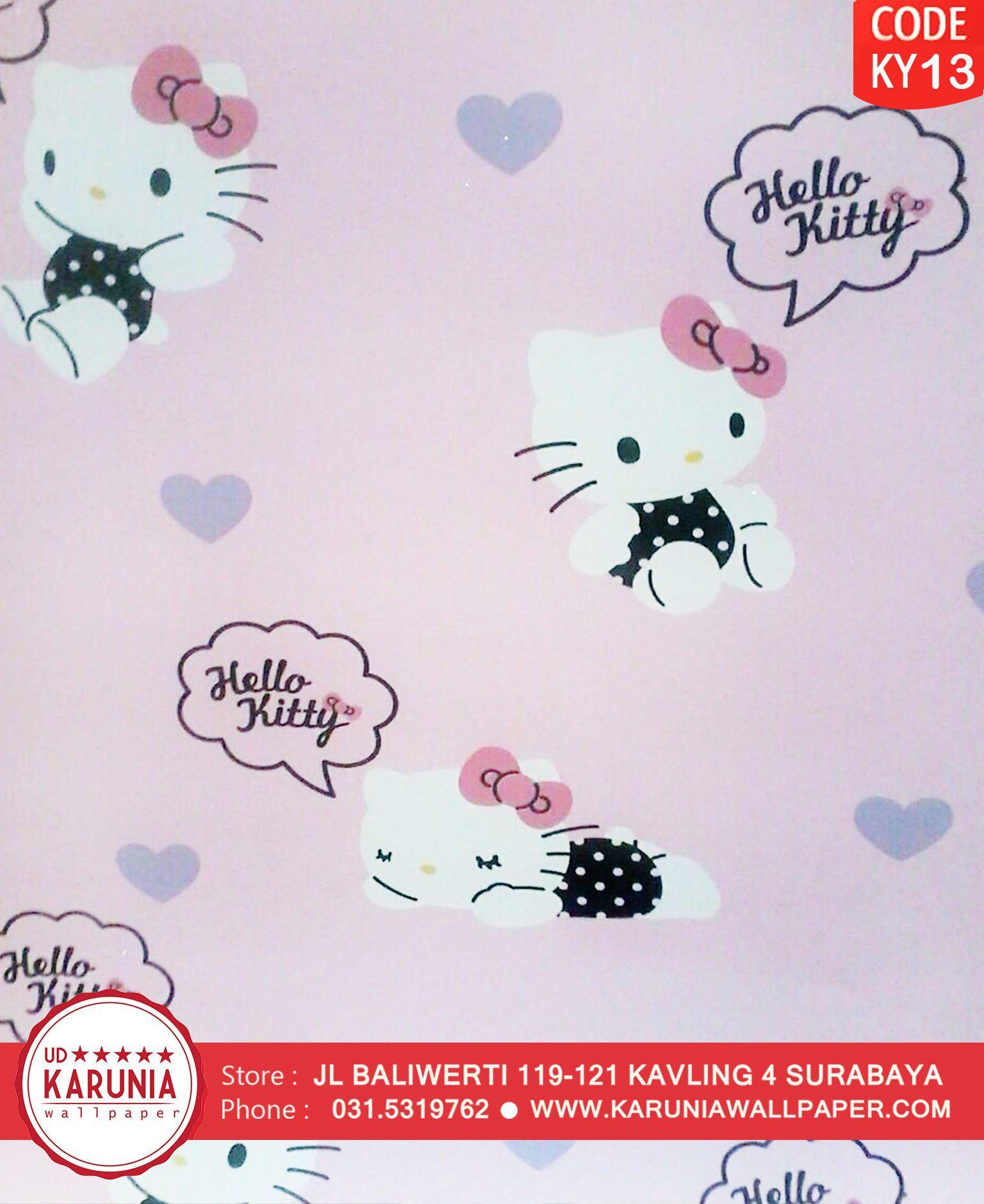 Jual Wallapper Dinding Motif Sanrio Hello Kitty Pink Lucu Untuk