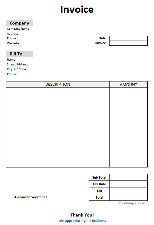 Blank Invoice Template Invoice Template Printable Invoice Invoice Design Template
