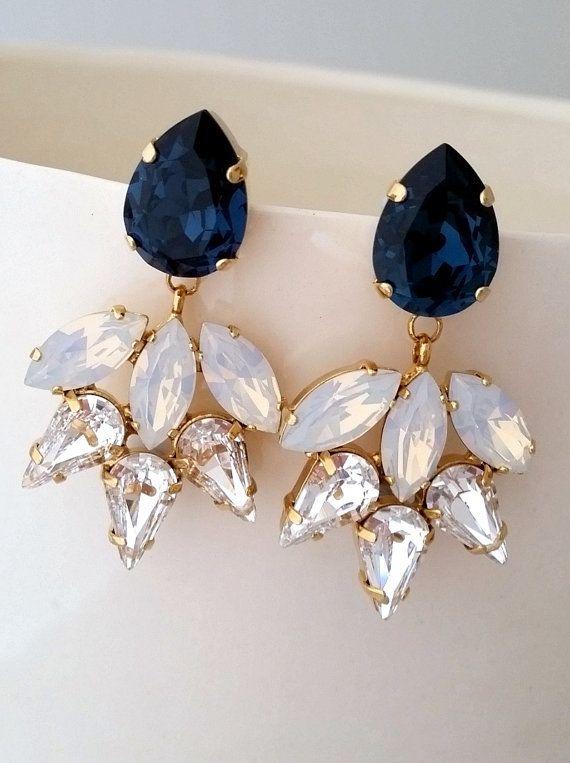 Navy blue earring,Bridal chandelier earrings,Navy blue white opal ...