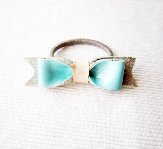 Girls hair bow Aqua bow ponytail Mint blue leather bow by Akamatra, $14.00 from Greece