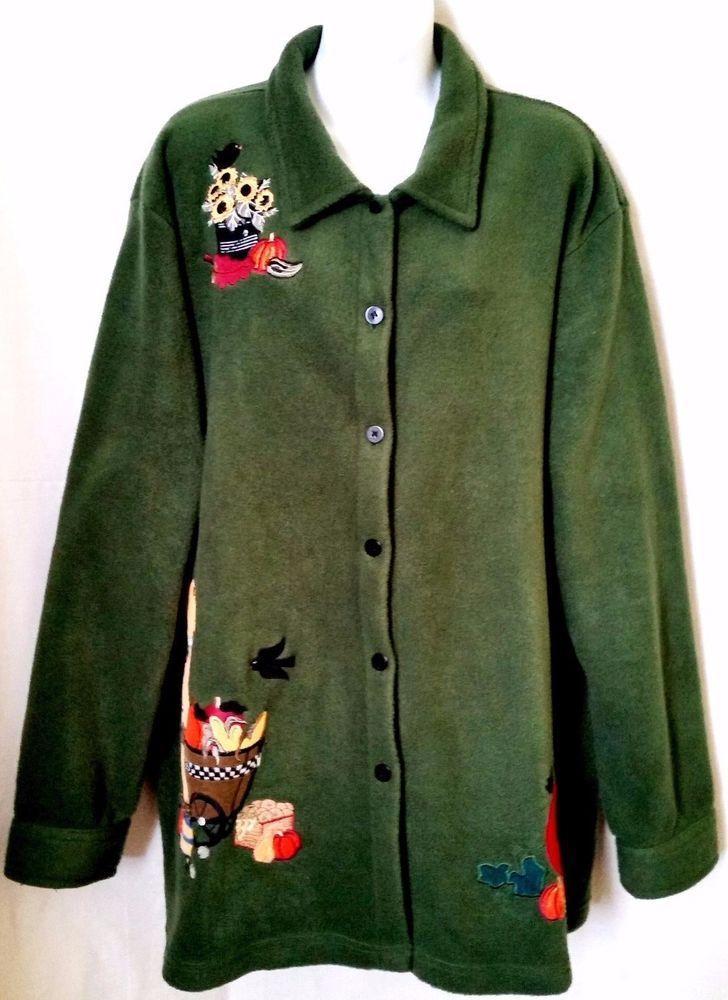 THE QUACKER FACTORY Fleece Green Cardigan Decorated  HALLOWEEN PUMPKIN sz 2X #TheQuackerFactory #BasicJacket