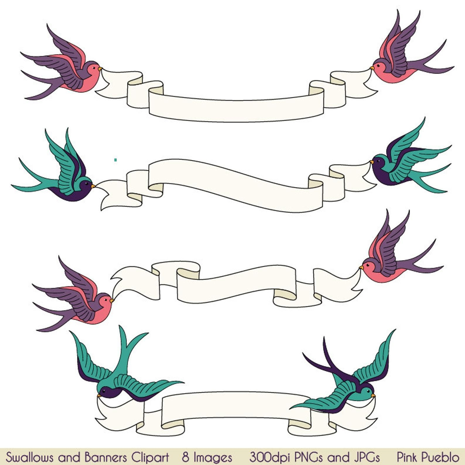 Swallows and Banners Clipart Clip Art, Vintage Bird Banner Clip Art Clipart-  Commercial and Personal Use   Banner clip art, Vintage birds, Clip art
