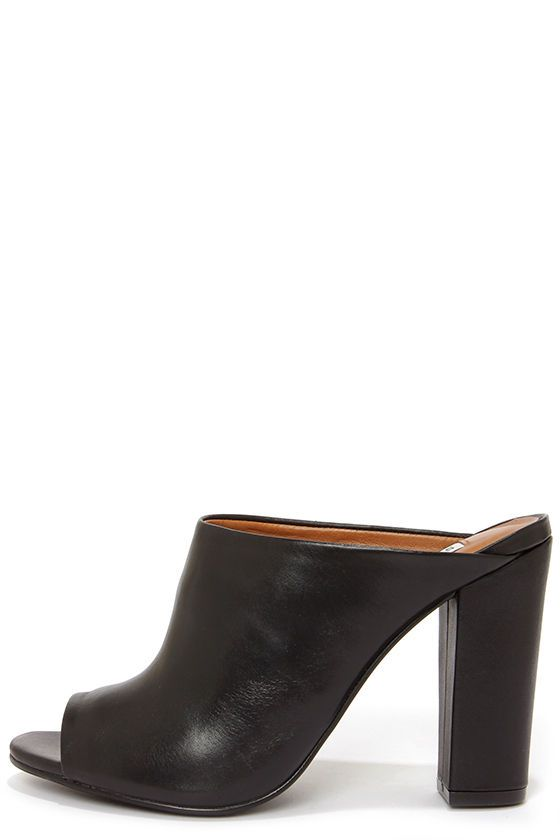 Peep toe mules, Black leather