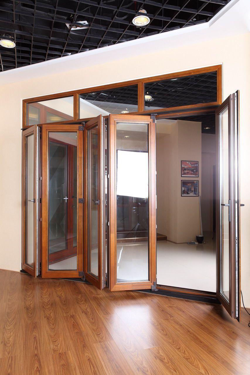 Double Patio Doors Folding Doors Folding Doors Folding Terrace Doors Folding Doors Made Of Glass Folding Cabinet Door In 2020 Doors Interior Clad Wood Bifold Doors