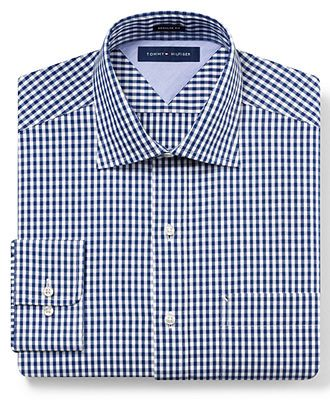 5758d8e2c27 Tommy Hilfiger Dress Shirt, Gingham Long Sleeve Shirt - Mens Dress ...