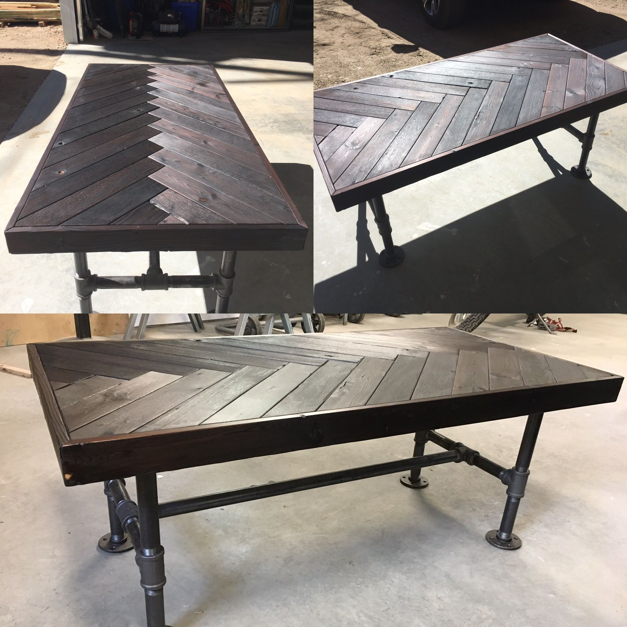 Shou sugi ban herringbone industrial coffee table
