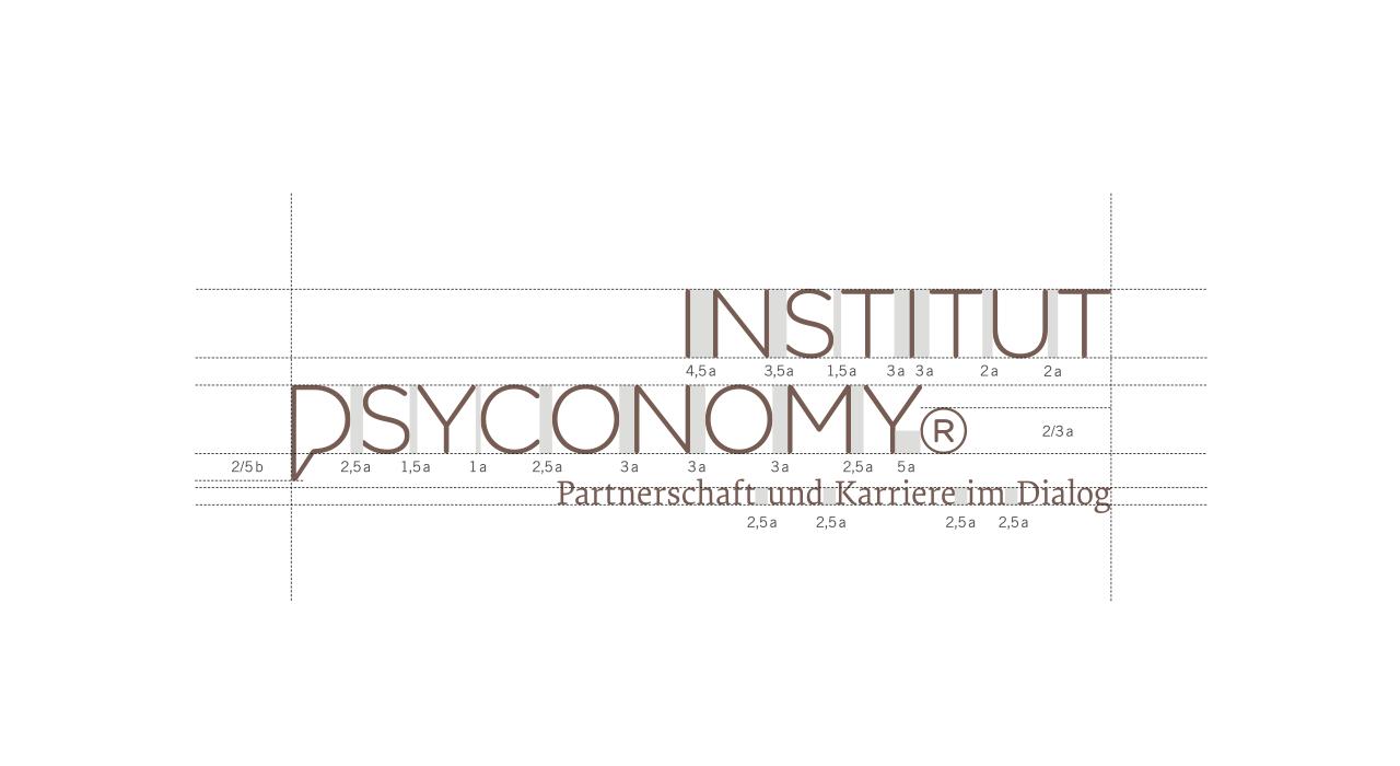 Bildmarke und Wortmarke des Psyconomy Institut in der Vermaßung und Reinzeichnung