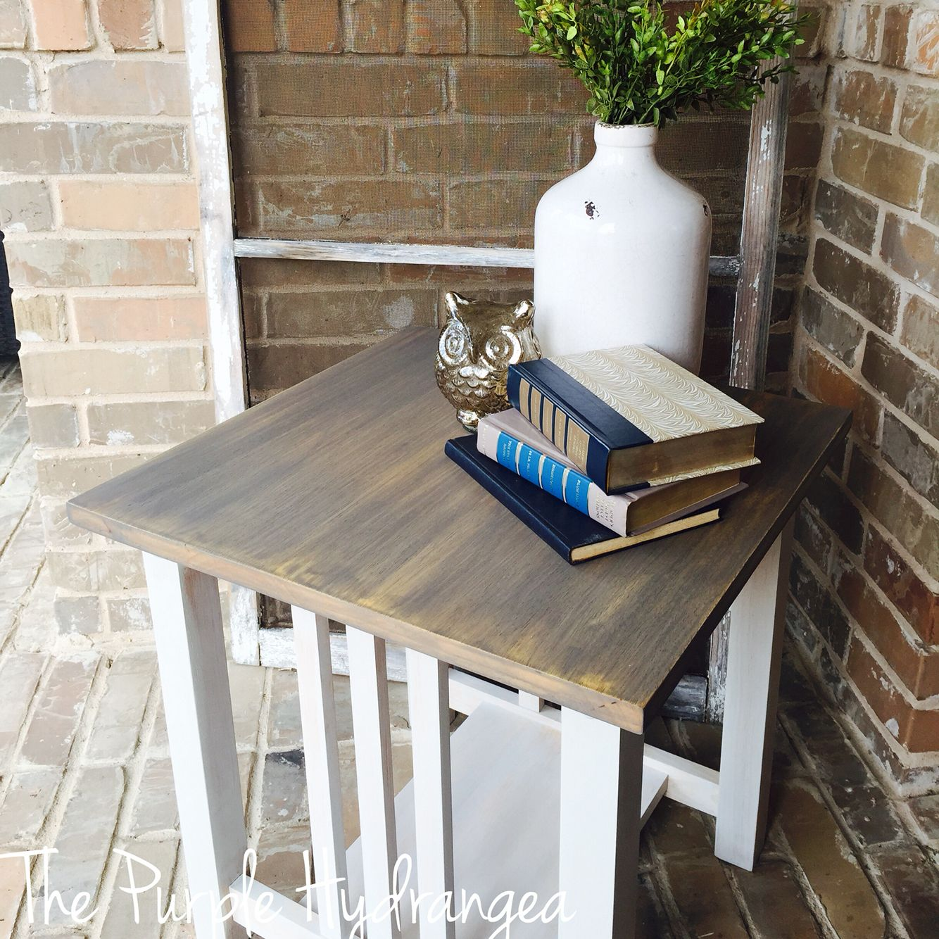 Mission Style Table Refinished With A Weathered Gray Chalk Paint Wash And White