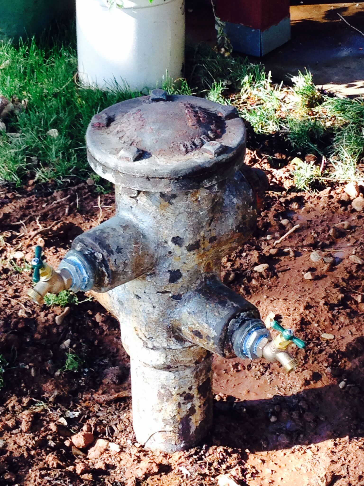 1910 fire hydrant repurposed in my garden as a faucet. Works ...