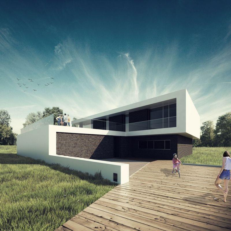 Villa moderna illustrazione fotorealistica di una for Moderni piani casa stretta