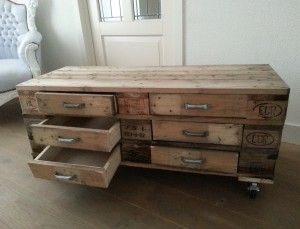 Zelf een ladekastje gemaakt van oude euro pallets woon decoratie zelf maken pinterest for Maak een kledingkast
