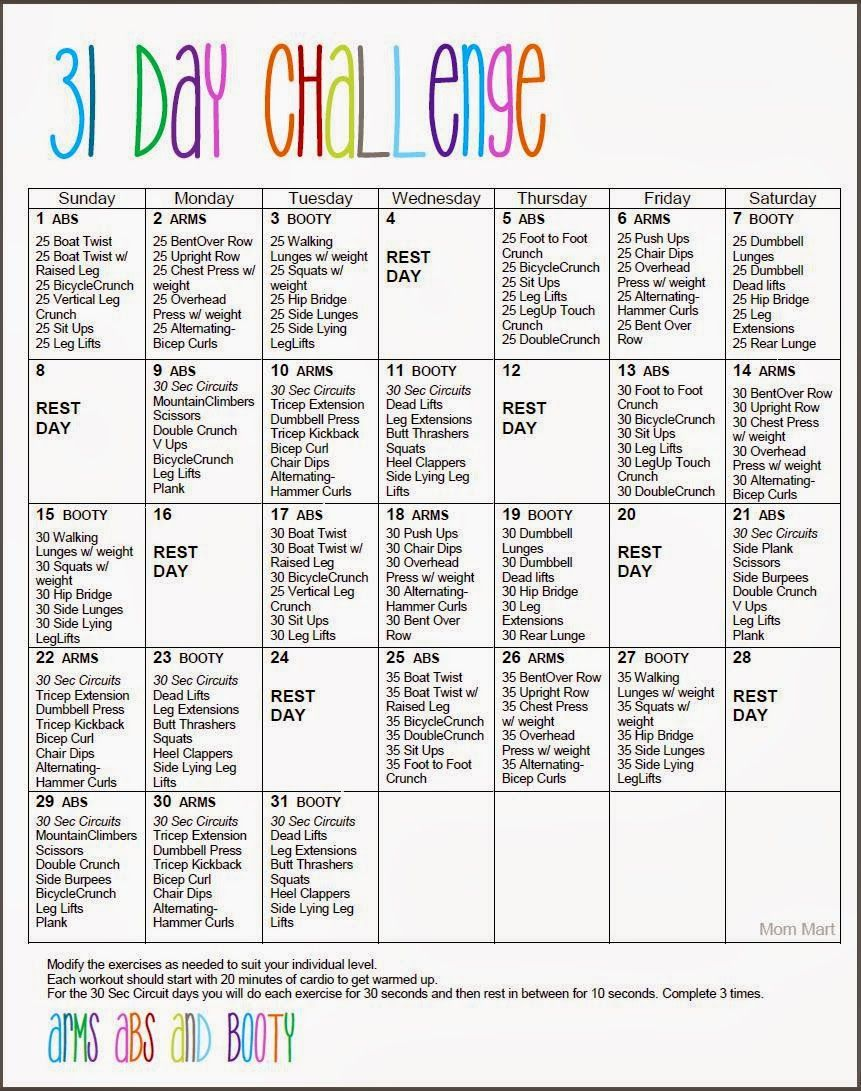 Core 30 Day Fitness Challenges Printable - Clipart Library