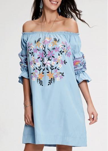 301831fd4b5c rotita.com - unsigned Flower Print Off the Shoulder Light Blue Dress -  AdoreWe.com