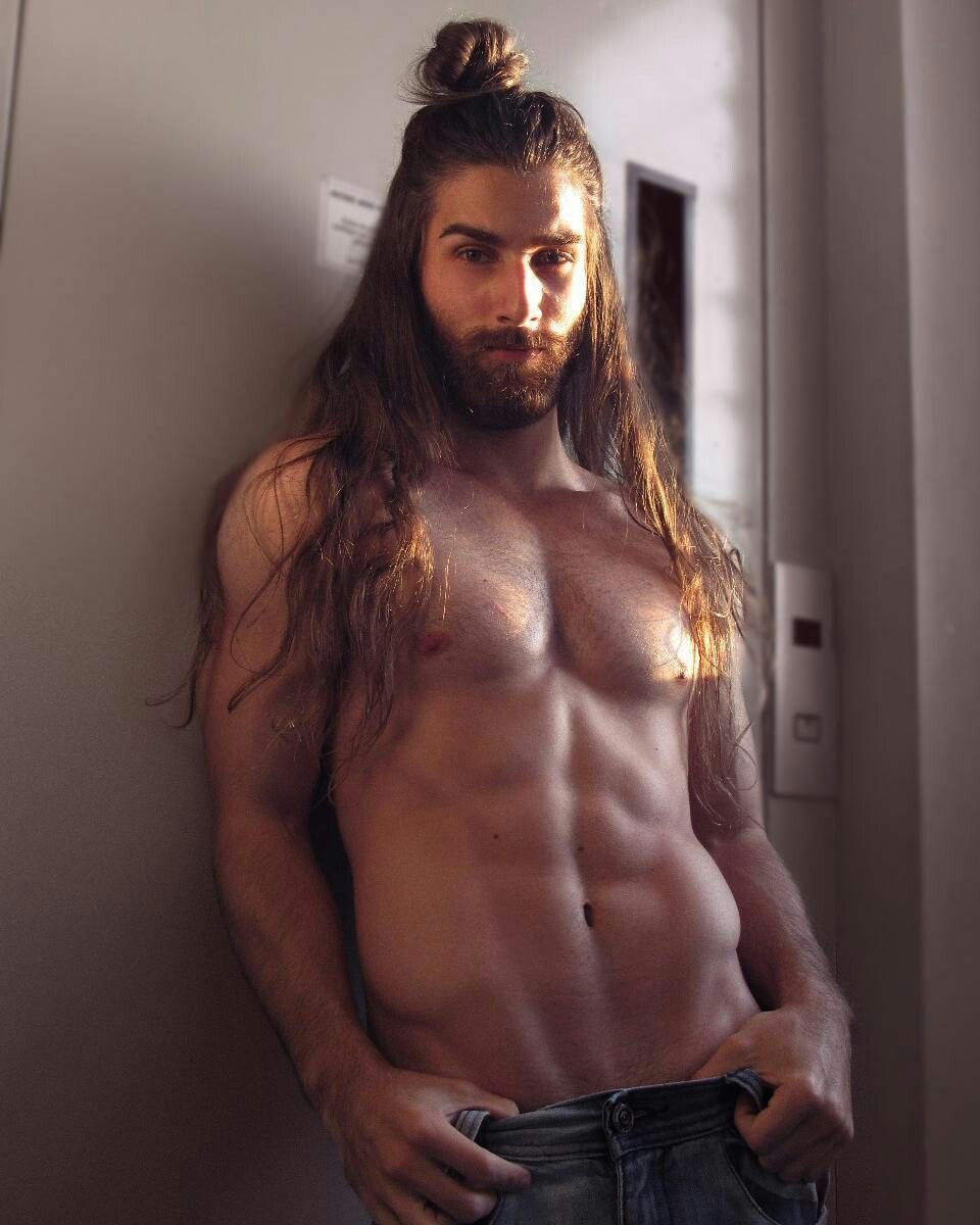 Naked young men with long hair