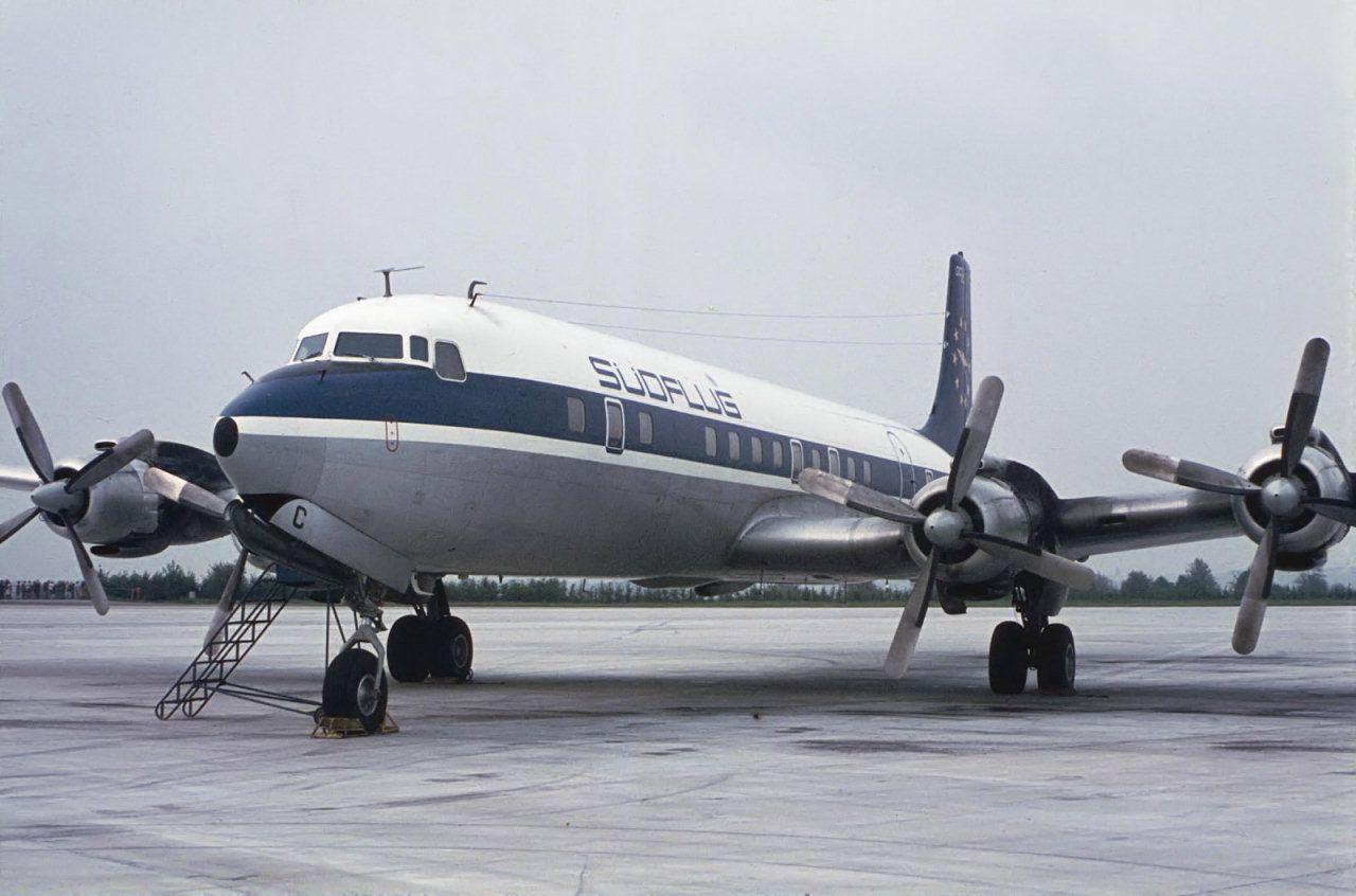 Südflug Douglas DC7C DABAC at DüsseldorfLohausen, circa