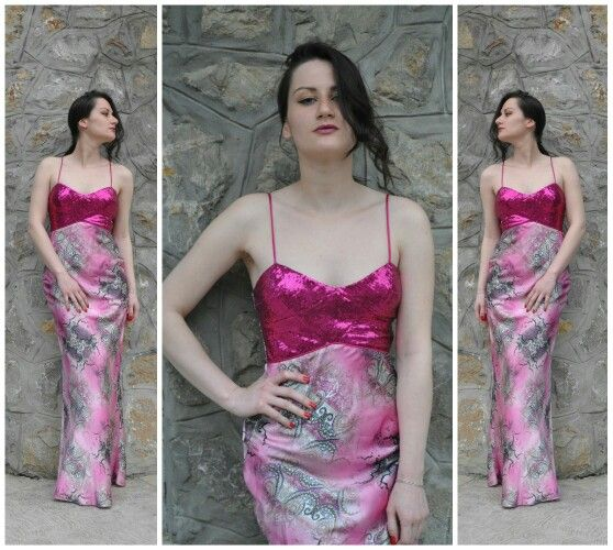 #pink #long #dress #satin #elegant #sexy #strass #tinsel #sivenje #costurera #sail #rental