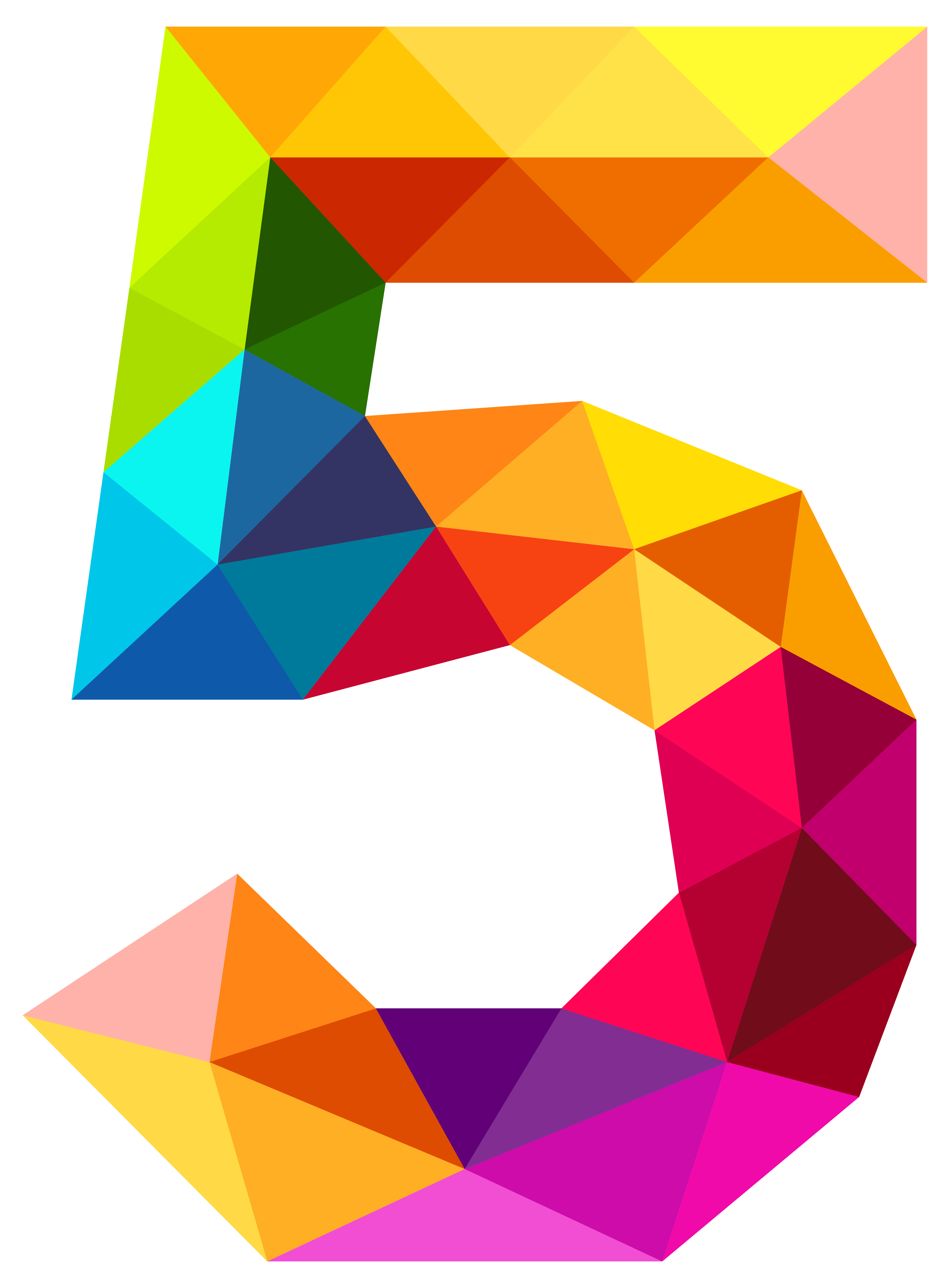 Colourful Triangles Number Five Png Clipart Image Gallery Yopriceville High Quality Images And Transparent Png Free Clipar Free Clip Art Clip Art Free Art