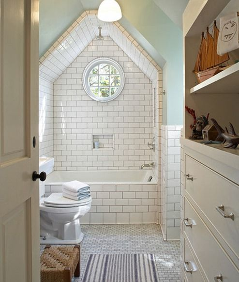 Which Direction To Lay Tile In Bathroom: Attic Bathroom, Waterfall Shower Head... I Love How The