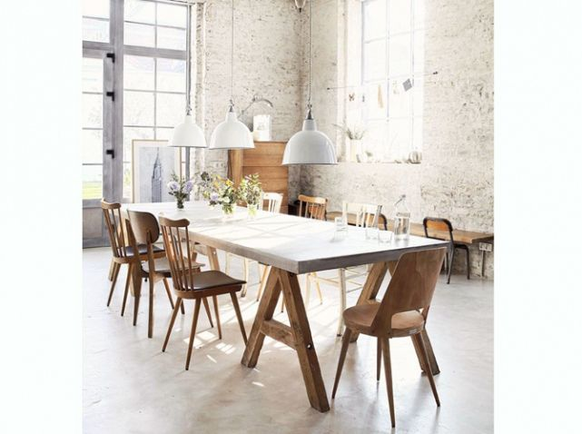 Salle manger esprit loft d co industrielle for Table a diner industrielle