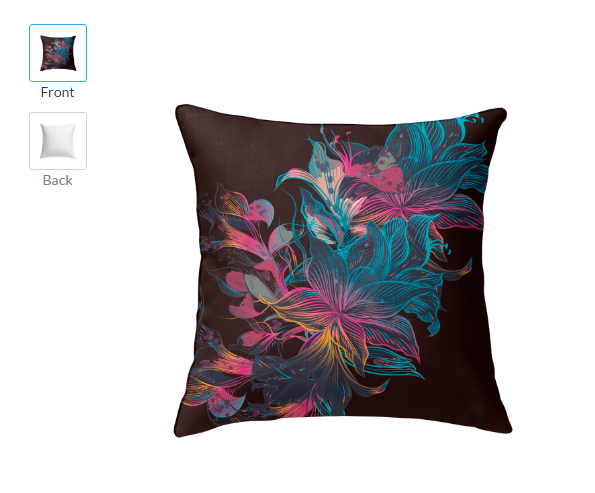 Floral Square Cheap Decorative Throw Pillows