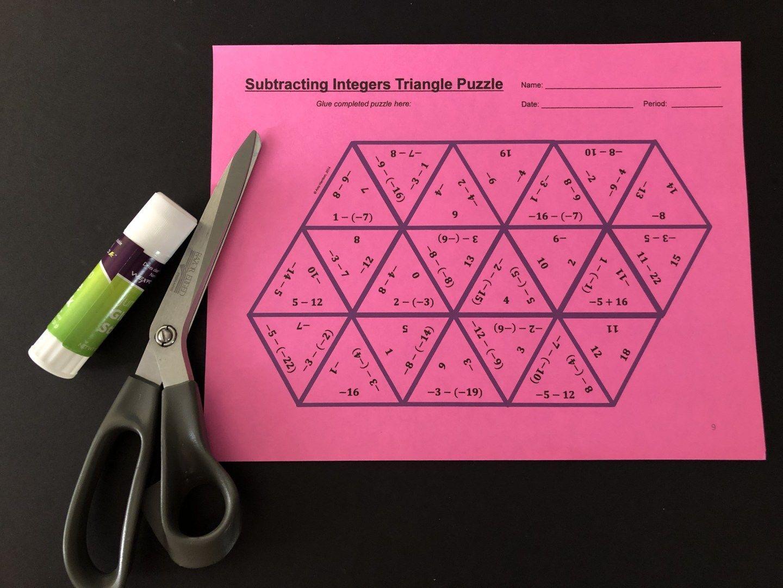 Subtracting Integers Puzzle