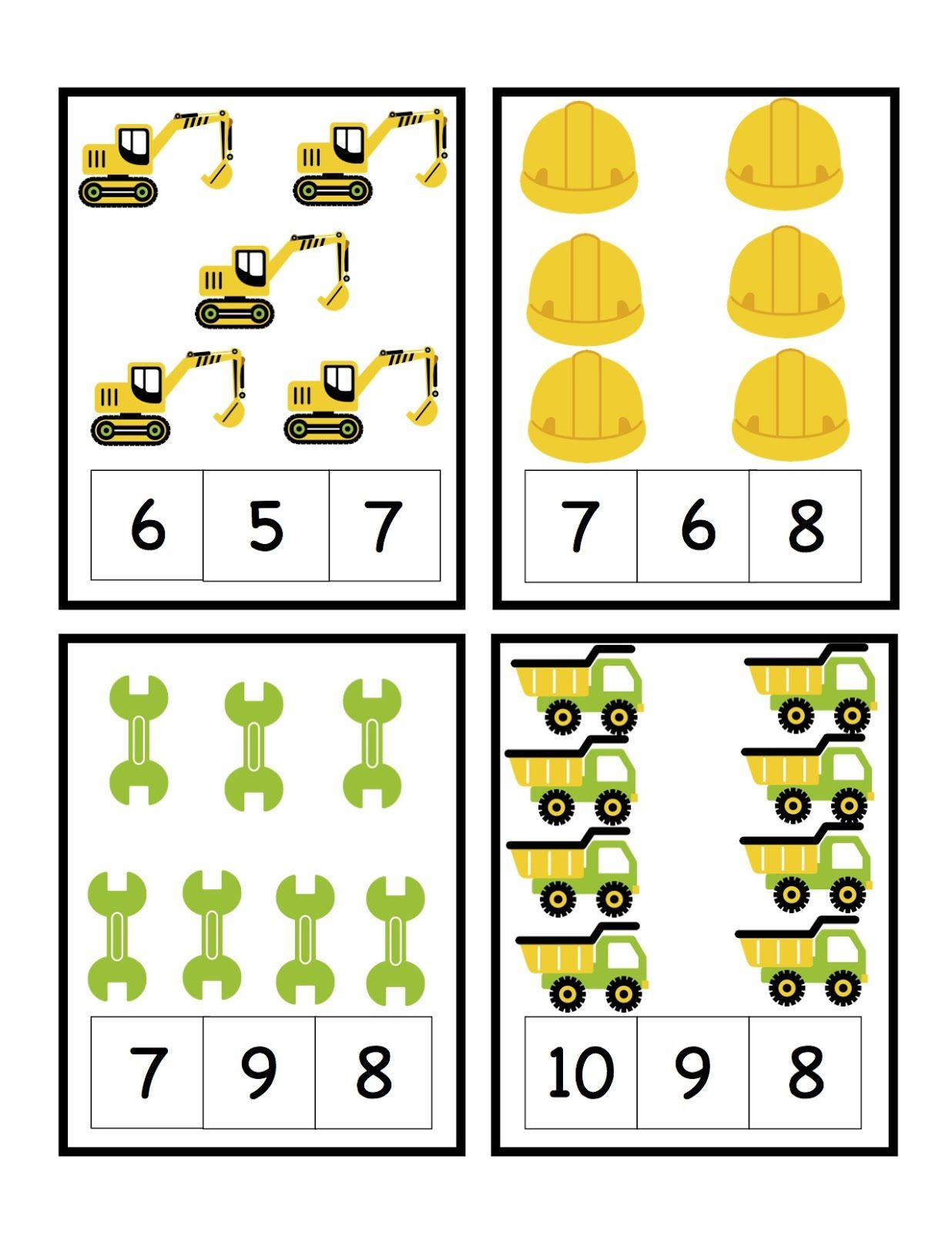 preschool printables construction printables counting and letters