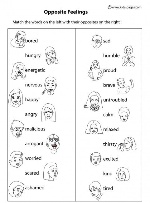 Opposite Feelings BW worksheets matching Pinterest