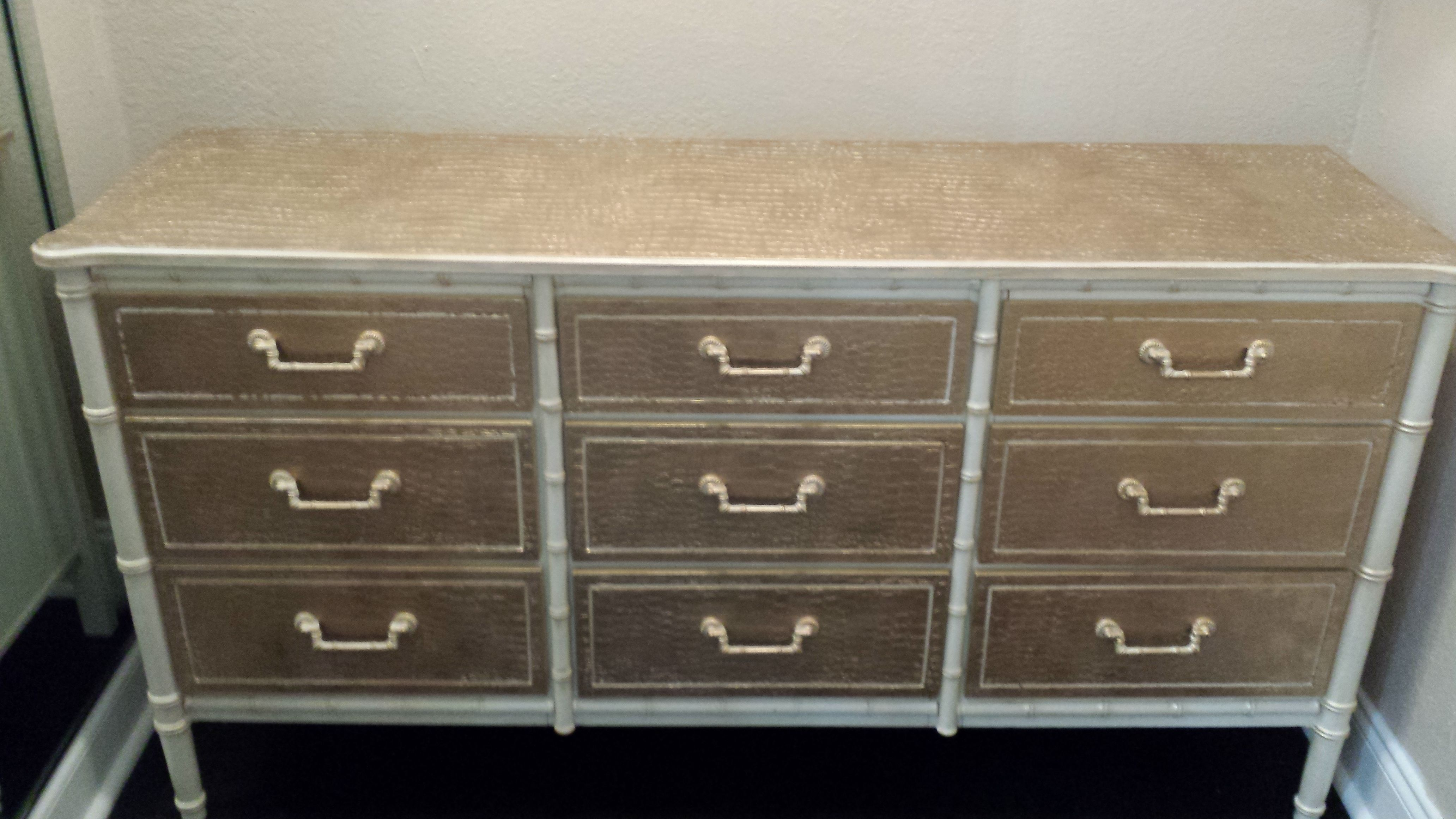 Henry Link Faux Bamboo Bali Hai Credenza Faux finished w/ Artisan Enhancement's Pearl Plaster & Liquid Gold ~
