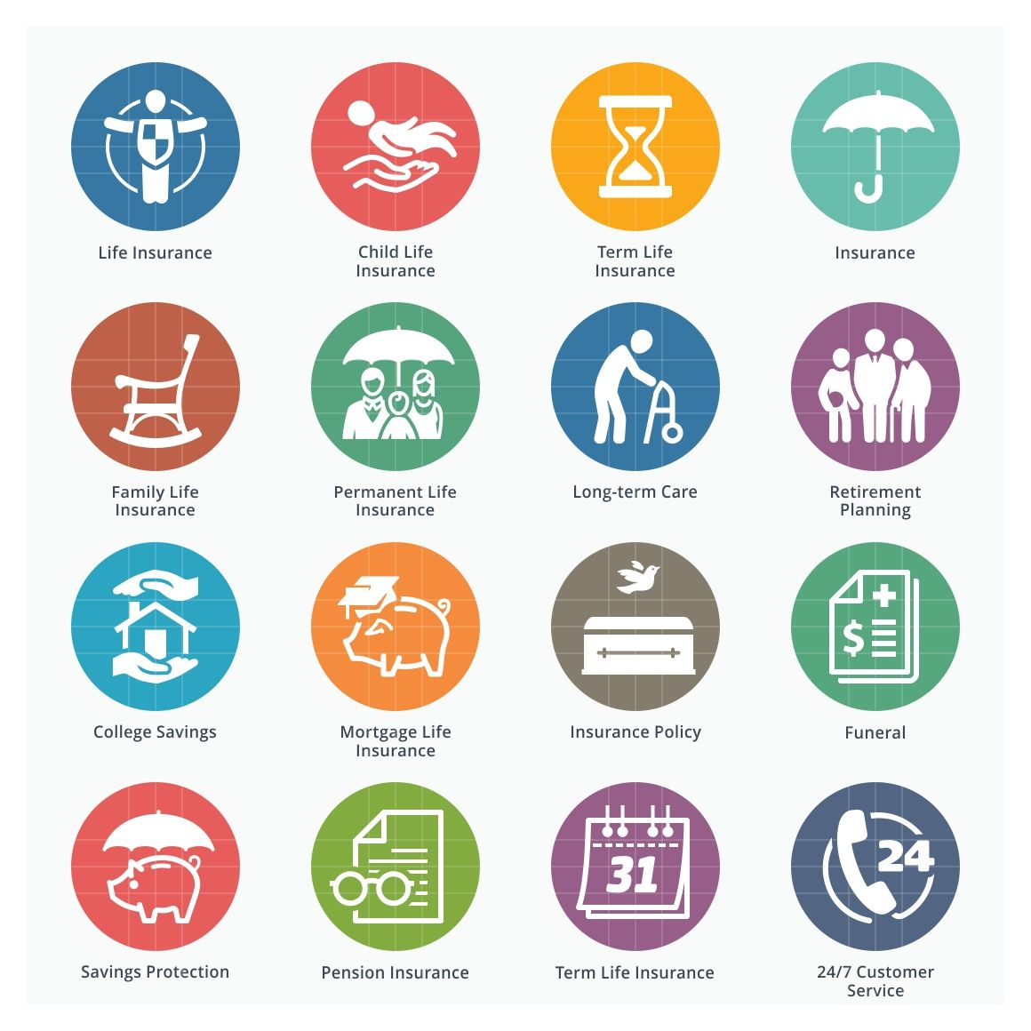 Life Insurance Icons Colored Life Insurance Companies Life