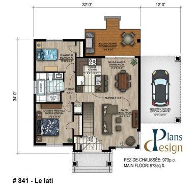 841 - Le Iati Bungalow Plain pied Plans Design plan Pinterest - plan petite maison plain pied