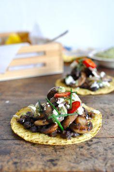 Mixed Mushroom Tostadas with Charred Scallion Pesto and Black Beans