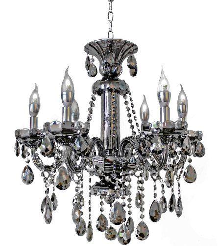 6 Light Maria Theresa Crystal Chandelier Smoked Black Mirror Finish Lightupmyhome Http Candelabra Chandeliers Crystal Candelabra Crystal Chandelier Lighting