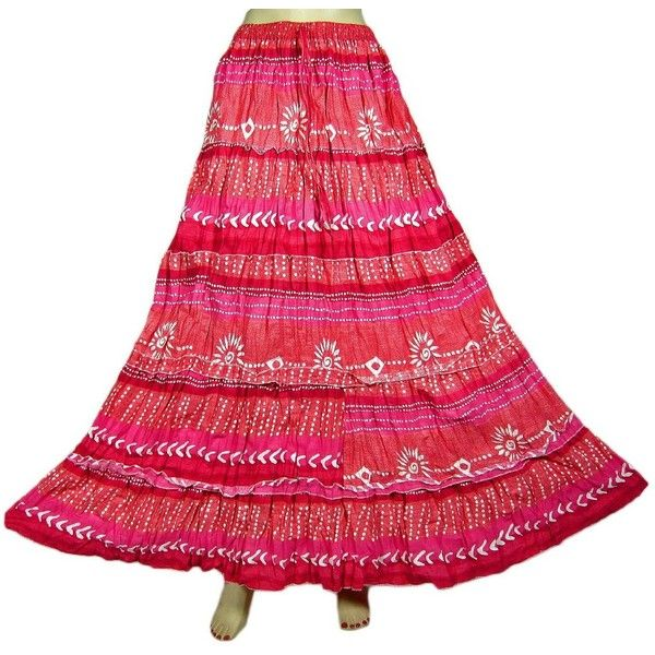 Mogul Interior Bohemian Skirt Gypsy Fashion Skirt Red White Printed... ($29) ❤ liked on Polyvore