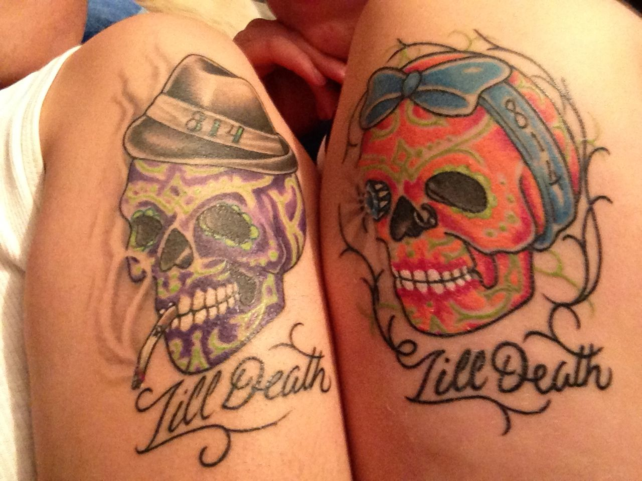 couple sugar skull tats tats pinterest sugar skulls tatting and tattoo. Black Bedroom Furniture Sets. Home Design Ideas