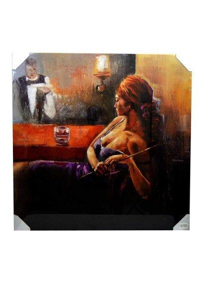 Lienzo moderno con imagen de mujer tomando copa. Bastidor fabricado en madera. En tonos rojos, marrones, morado... Medidas 100 x 100 x 3 cm.  Colócalo en el pasillo, subida de escalera, salón, sala de estar, comercio, pub...  Envío gratis en 24h.
