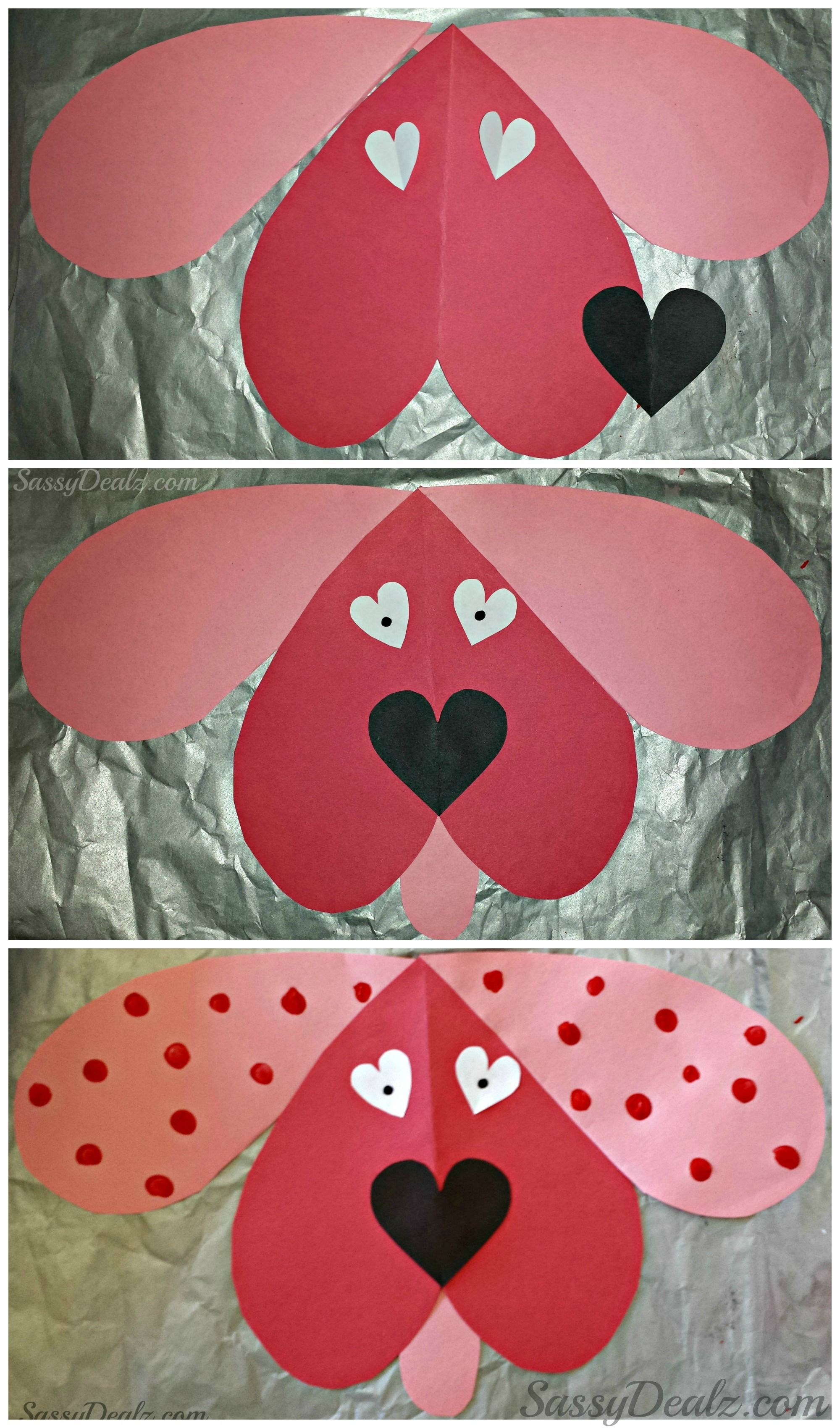 Cute Dog Valentines Day Craft For Kids Valentines Card Idea Diy