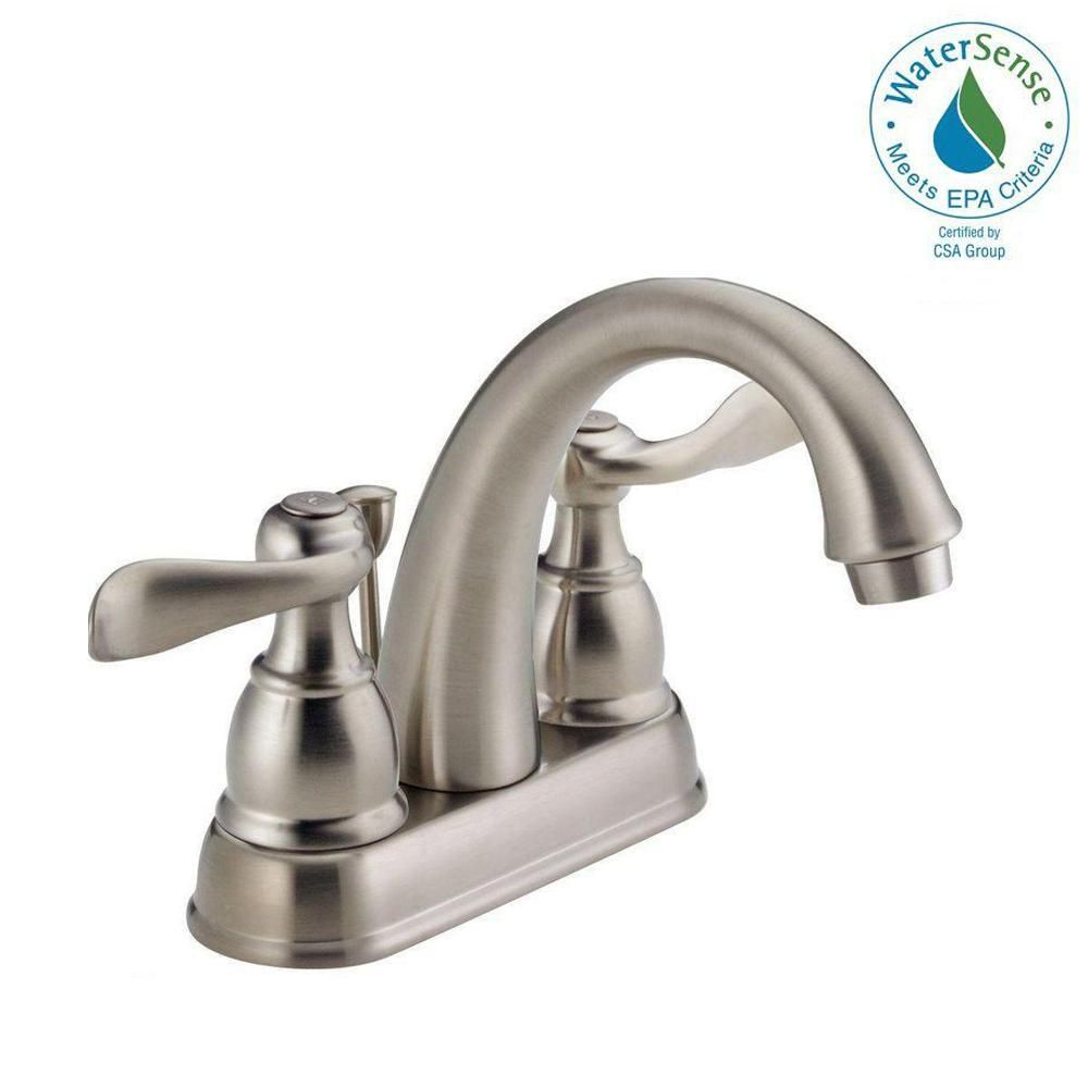 Delta Windemere 4 In Centerset 2 Handle Bathroom Faucet With Metal Drain Assembly In Stainless Deltabathroomfau Faucet Chrome Kitchen Faucet