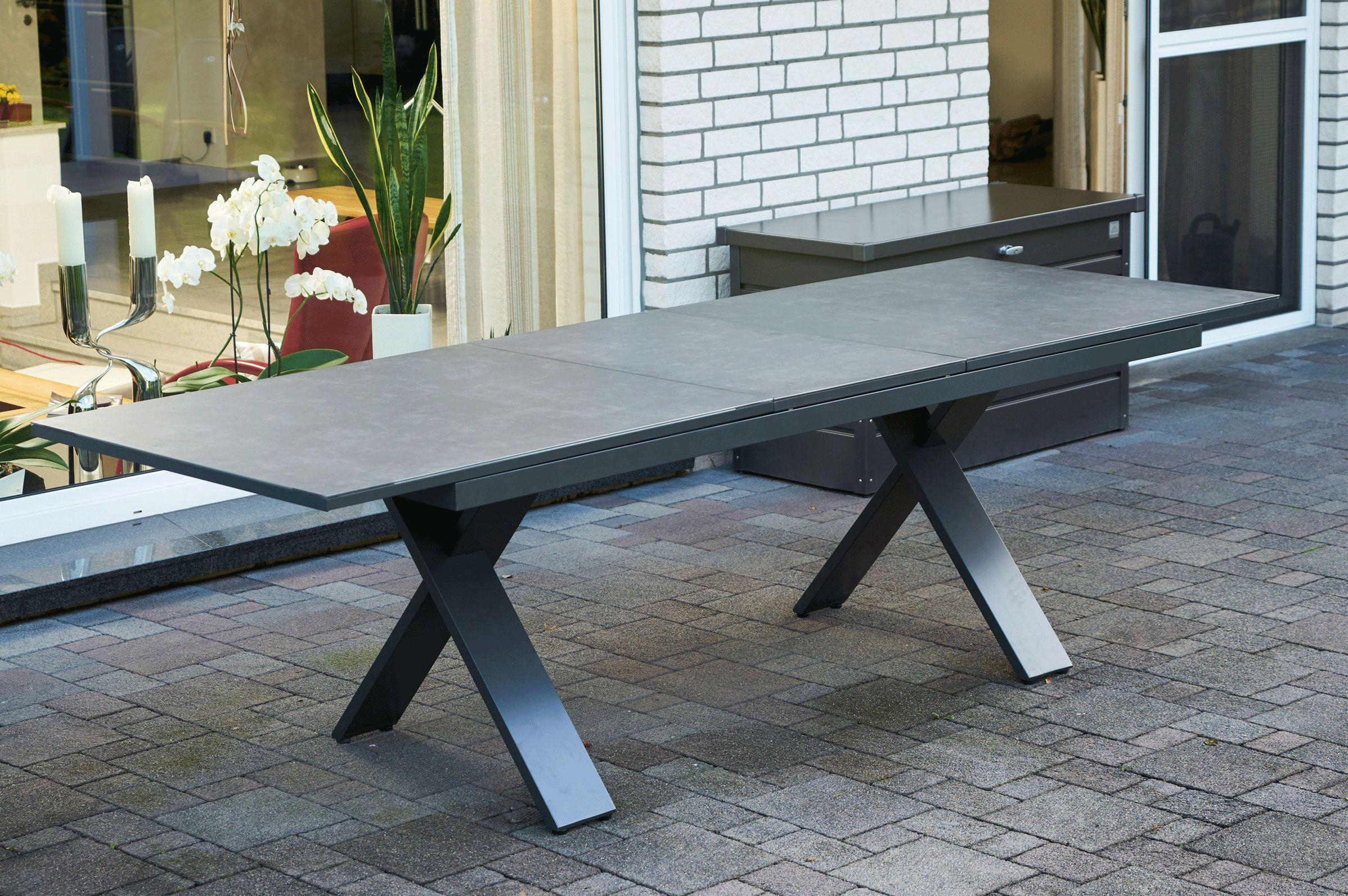 Hartman Sondermodell Xanadu / Da Vinci Sitzgruppe xerix/anthrazit Alu/Glaskeramik 2 Diningsessel 6 Multipos 220/280x100cm