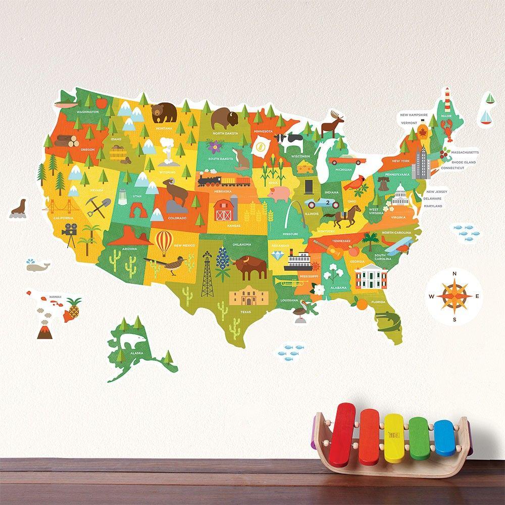 Petit Collage | USA Map Fabric Wall Decal. | // Petit Decor ...