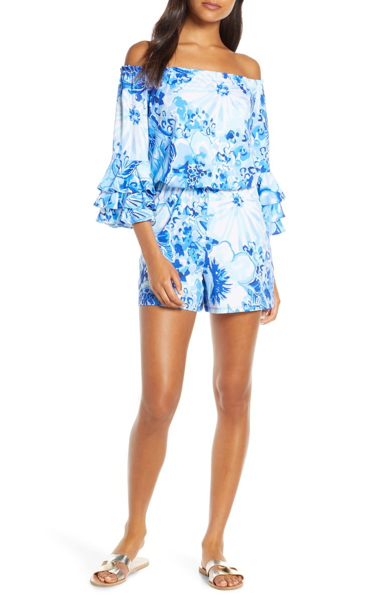 17452c1172f279 Free shipping and returns on Lilly Pulitzer® Calla Off the Shoulder Romper  at Nordstrom.
