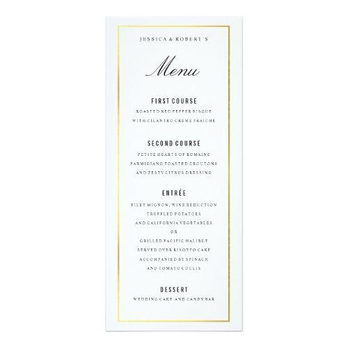 Gold Border Elegant Wedding Menu Card Zazzle Com Elegant Wedding Menu Wedding Menu Wedding Menu Cards
