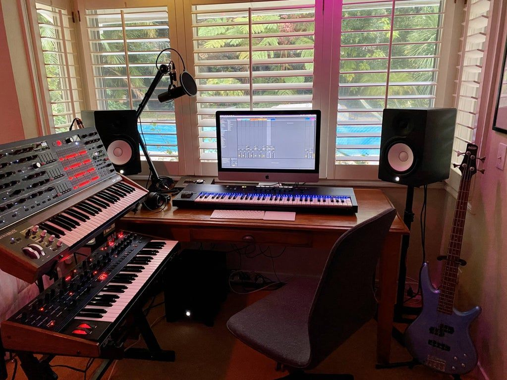 May Not Be Much But I M Proud Of My Bedroom Studio Musicbattlestations Home Studio Setup Bedroom Studio Home Studio Music