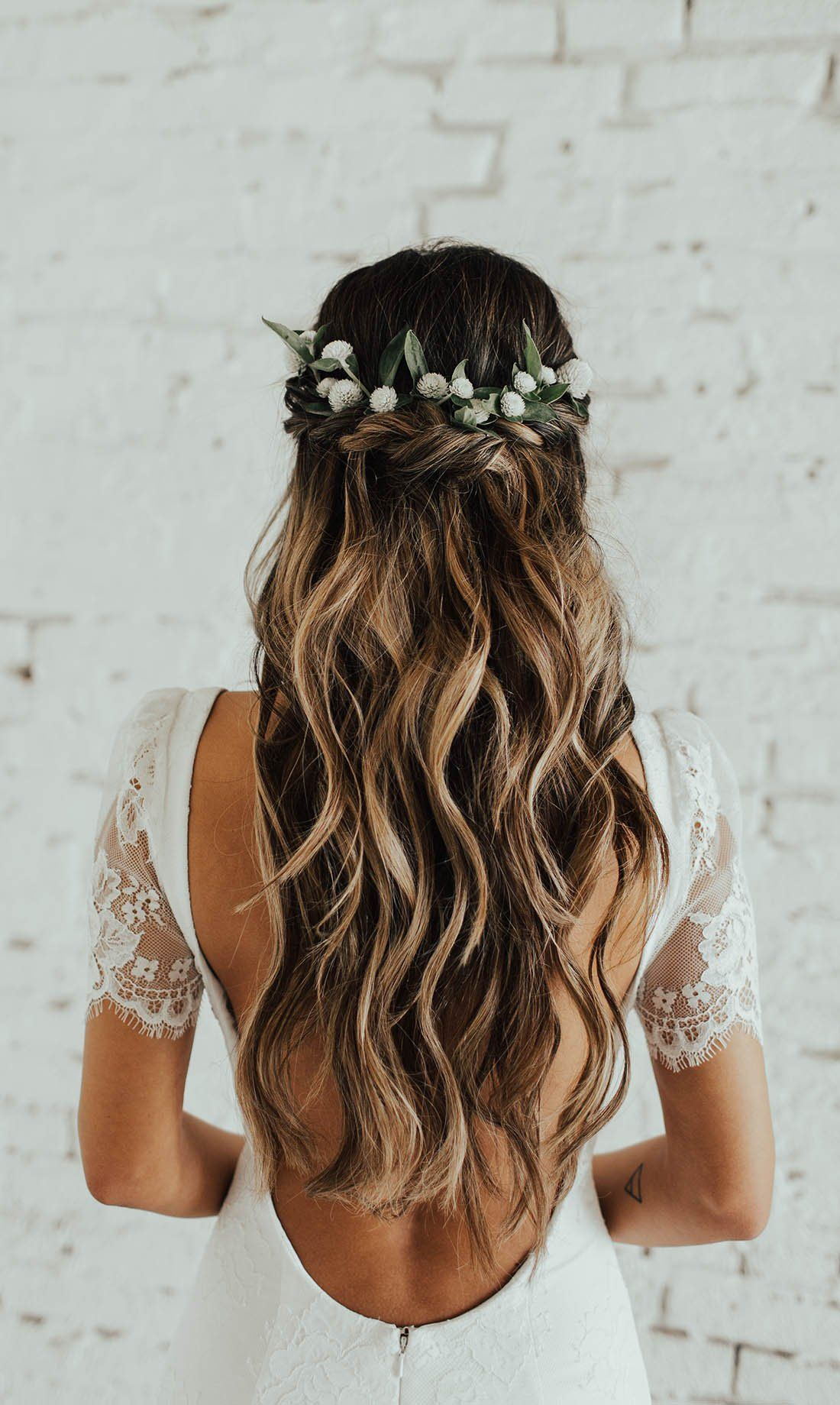 Boho Wedding Hairstyles To Inspire Flower Crown Hairstyle Long Hair Styles Wedding Hair Down