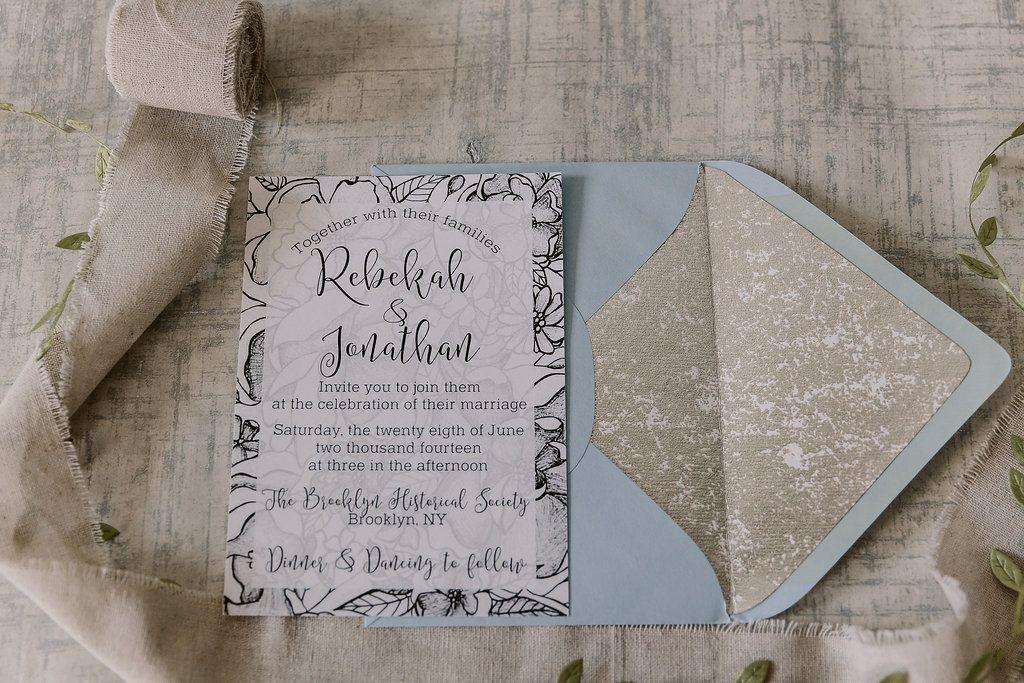paper style wedding invitations%0A Black floral sketch vintage style wedding invitations and coordinating  wedding menus by Pineapple Street Designs