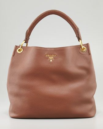 35679adb2a Daino Woven-Handle Hobo Bag Brown by PRADA