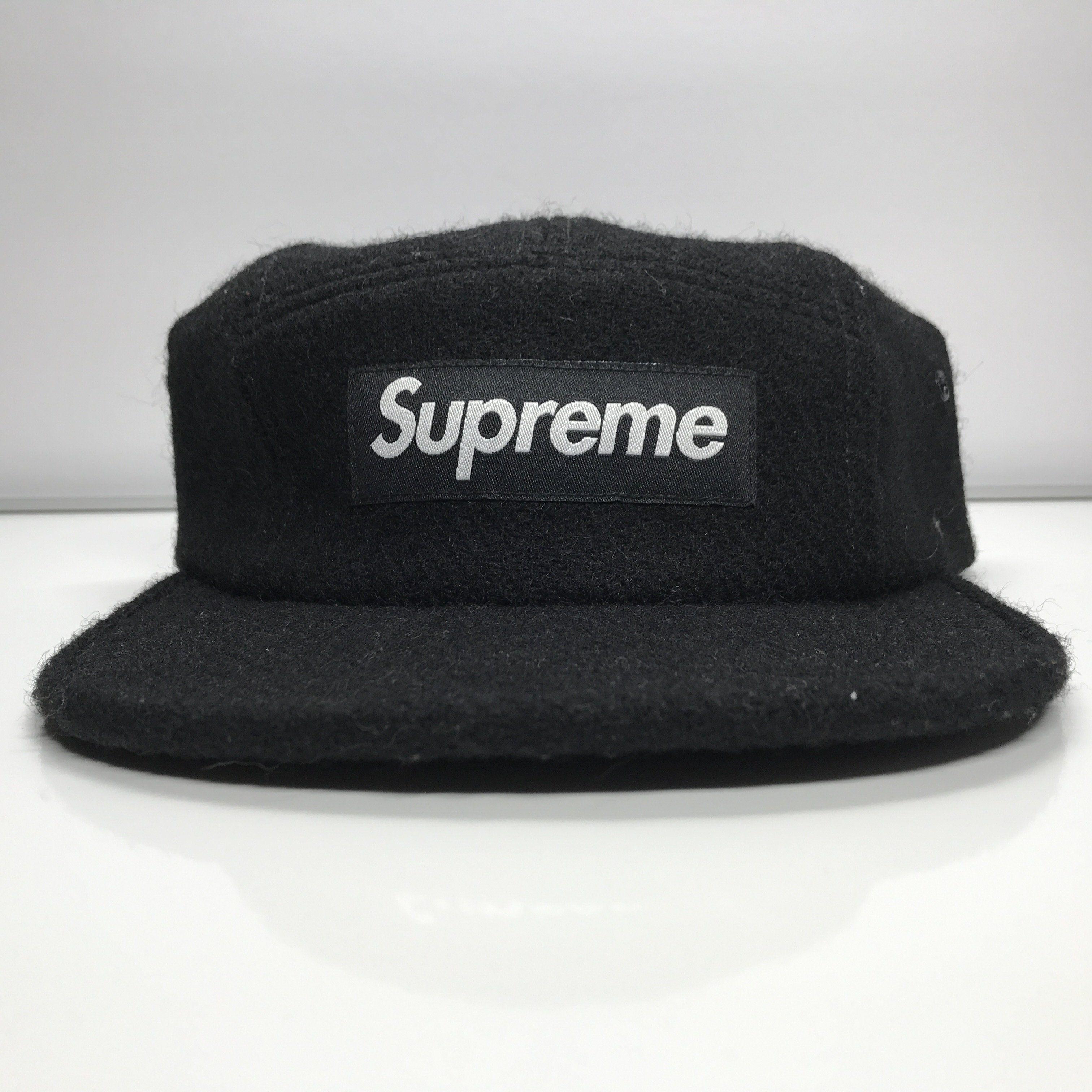 Supreme Harris Tweed Featherweight Wool Camp Cap Box Logo Black Hat FW16 8f2b4b0bc8b