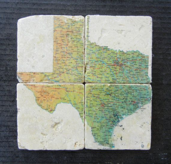 Texas Map Stone Coasters Set of 4